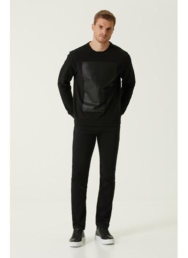 NetWork 1079304 Erkek Slim Fit Baskılı Sweatshirt Siyah